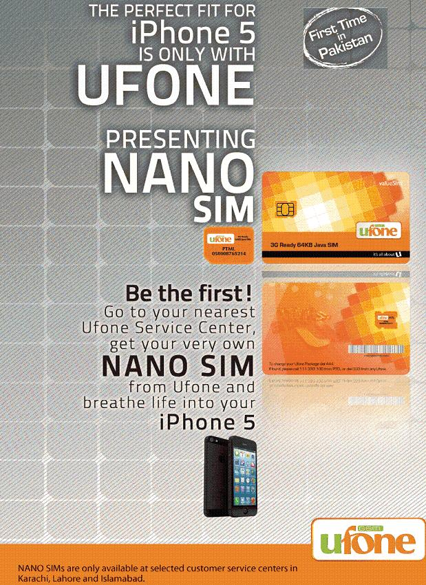 Ufone Pakistan Launched Nano Sim For iPhone 5 In Pakistan