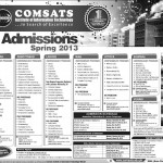 COMSATS Admissions Open For Spring 2013