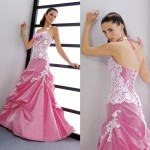 Fashionable White and Pink Wedding Dresses